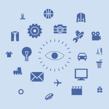 industry background: Icons life and the environment around the person and people Illustration