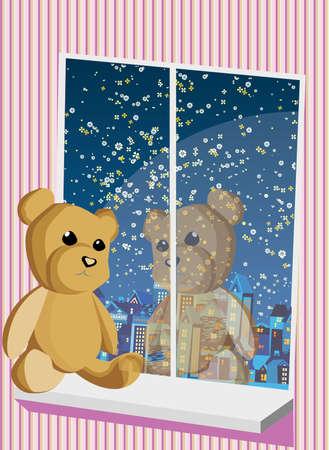 Teddy bear sitting on window and looking on night city