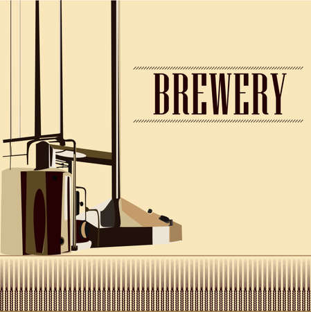brewery: beautiful vector vintage brewery silhouette