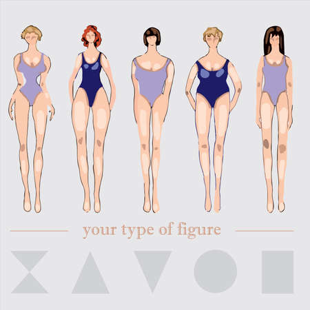 vector illustration of types of female figures