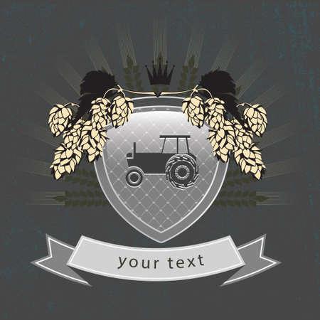 hape: vector vintage agricultural logo on the shield Illustration