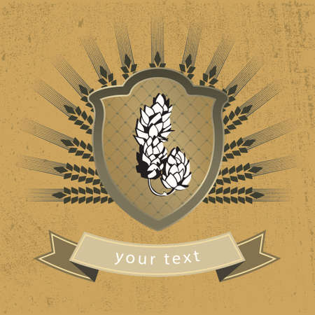 malt: vintage logo malt and hops on the shield Illustration