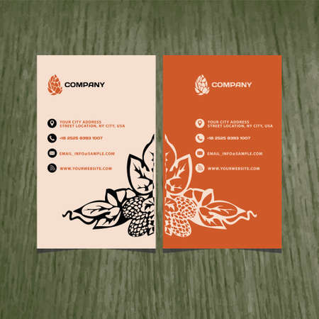 hops: vector business card beer company with a plant hops