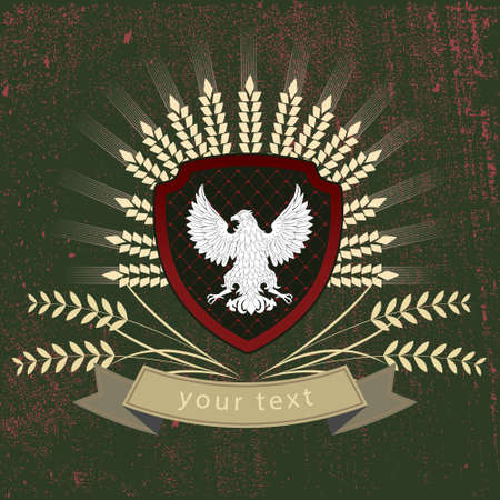 vector element: Vector vintage logo of the eagle on the shield Illustration