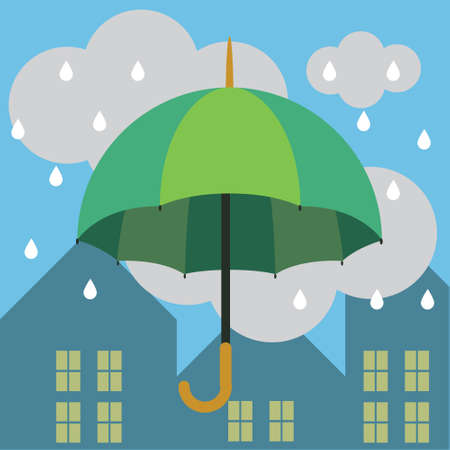 beautiful vector illustration of an umbrella in the rain in the city