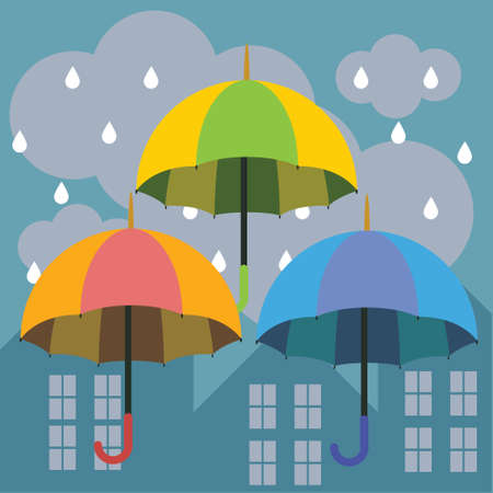 downpour: beautiful vector illustration of an umbrella in the rain in the city