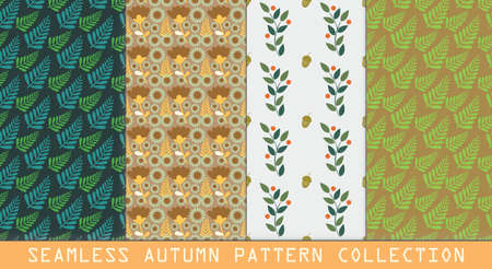 cor: beautiful seamless vector autumn patterns collection with leaves