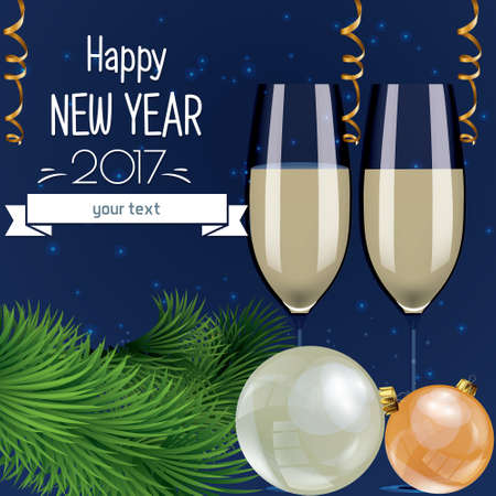 champagne celebration: vector illustration of celebration of new year and Christmas with glasses of champagne, fireworks, light bulbs, colorful and bright Illustration