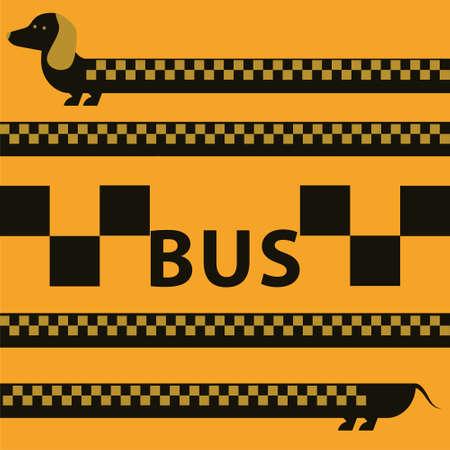 dachshund: vector greeting card Dachshund dogs seamless pattern