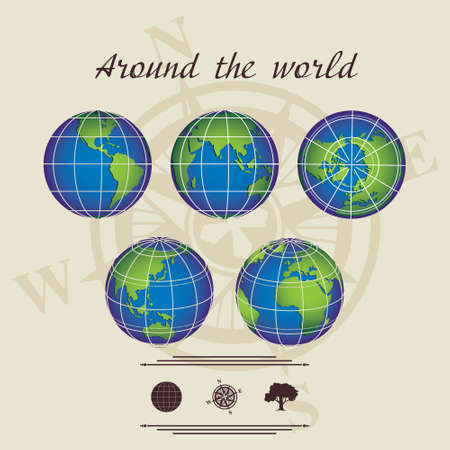 around the world  light-coloured background land with different sides