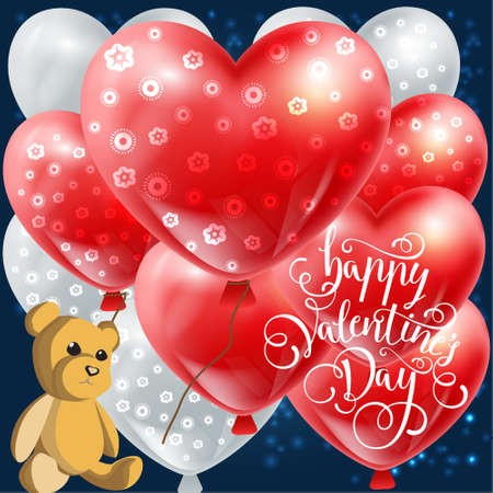 vector Valentines day illustration card background happy Valentines day with a cute Teddy bear and a balloon Valentine, in love with the beautiful toy bear sitting