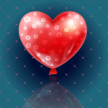bunch of hearts: vector Valentines day illustration card background happy Valentines day beautiful balloons Valentines in the form of a red loving heart