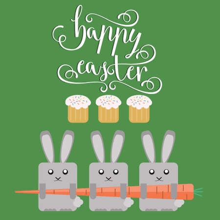 Easter vector bright illustration of happy Easter greeting card with Easter rabbit, Easter carrot  background