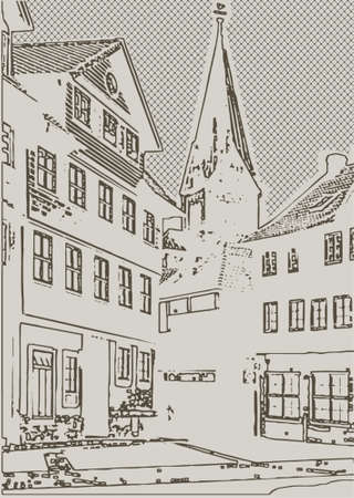 vector illustration of old town with buildings and a tower with a stone pavement drawn by hand