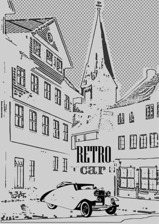 Vector illustration of a postcard of the vintage car parked on the street in the old town