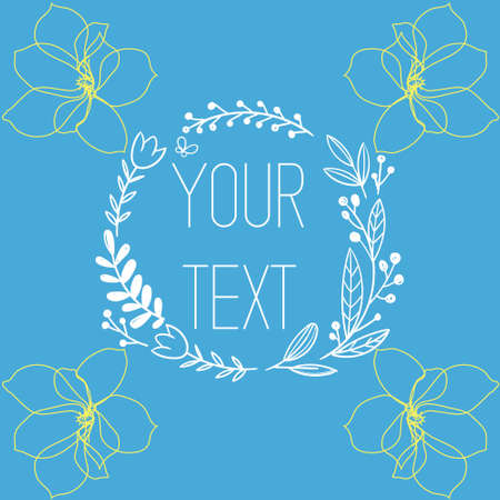 vector Postcard illustration with spring flowers and picture frame Ah your text of plants and flowers Illustration