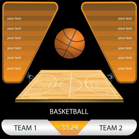 vector Illustration of a basketball tournament game, basketball field, with the ball and competition Ilustração