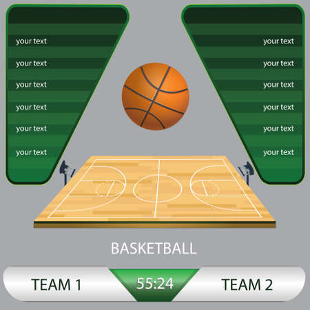 vector illustration of a basketball tournament game, basketball field, with the ball and competition