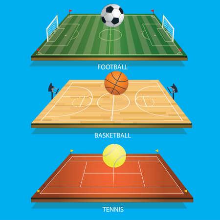 Vektor-Illustration Hintergrund Tennis Feld 3D Tennisball, Fußball 3D und Fußball-Basketballplatz 3D Basketball Standard-Bild - 78610150