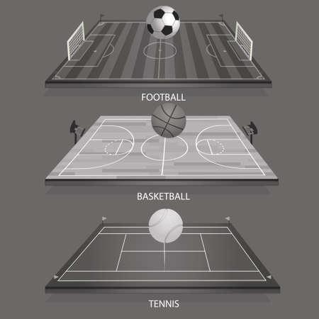 Vektor-Illustration Hintergrund Tennis Feld 3D Tennisball, Fußball 3D und Fußball-Basketballplatz 3D Basketball Standard-Bild - 78610155