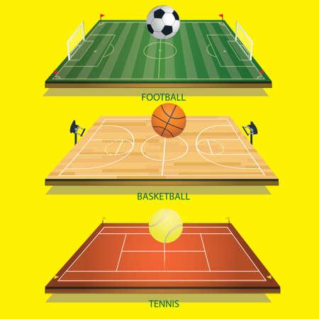vector illustration background tennis field 3D tennis ball, football 3D and football-basketball court 3D basketball Illustration
