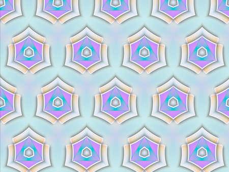Pink and purple geometric design on blue background Stockfoto