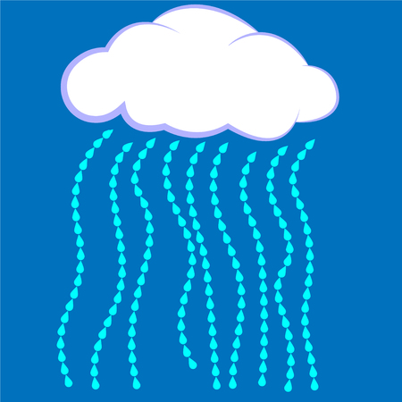 Cloud icon Vector illustration, cloud with rain on a blue background Stock Illustratie