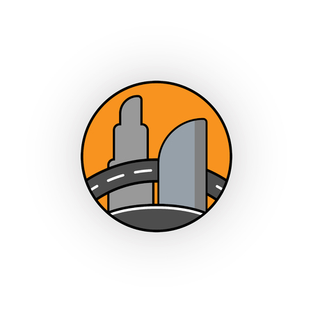 A vector creative construction, the logo of skyscrapers, offices.