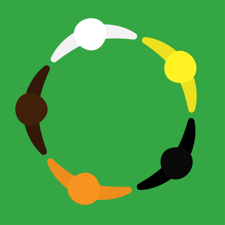 motivated group of people. multinational group. logo, circle of a person sign. view from above. Vector graphics