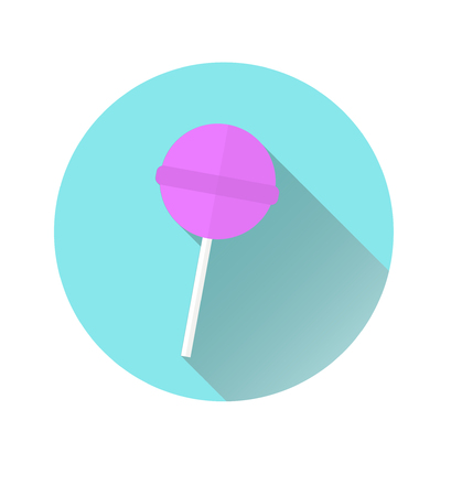 Icon of a pink Chupa Chups icon on a blue circle background. Vector graphics