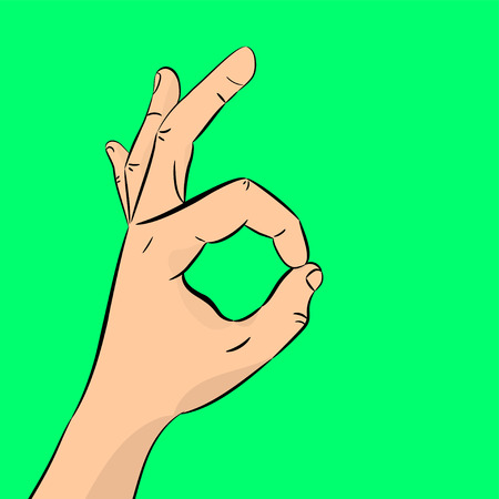 Hand OK. The concept of communication gestures. Vector illustration with shadow, isolated on colorful background. Illustration