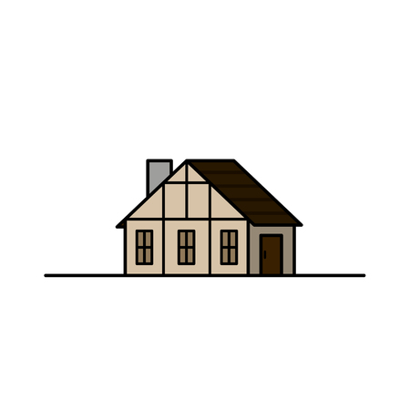 Vintage Medieval Historical House and . Illustration. Vector graphics