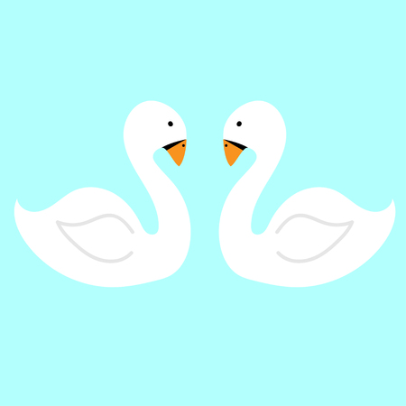 pair White swans on the water. Vector flat illustration.