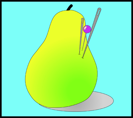 Pillow in the form of a pear with needles, concept background. Cartoon illustration of a pillow with needles. Illustration