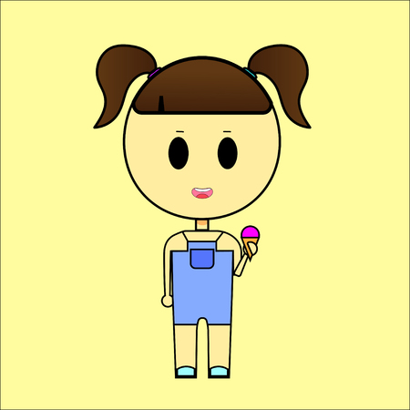 Little girl eating a multicolored ice cream cone. vector illustration.