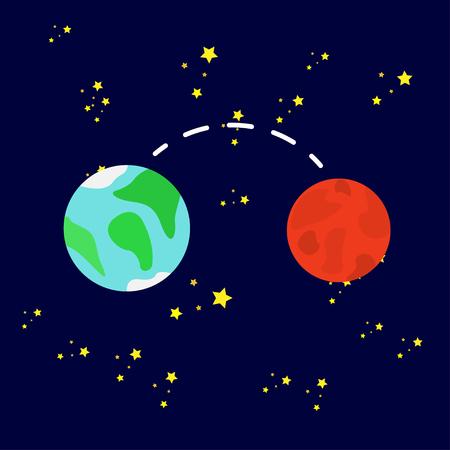 Vektorillustration, innere Planeten. Mars und Erde, der Weg zwischen den Planeten.