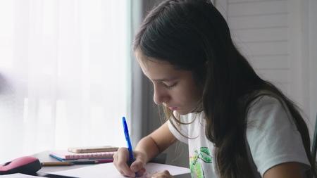 Teenage girl doing homework for school in her room, on the desk Stock Photo