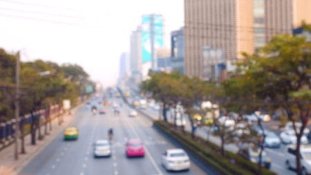 Car traffic on a busy highway, top view, blur Standard-Bild