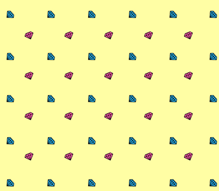 diamond painted seamless pattern. vector illustration. on a yellow background multicolored crystals. Illusztráció