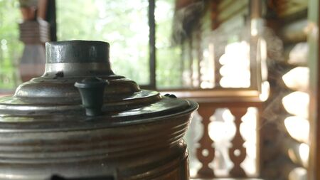 close-up. smoke from the lid a traditional Russian samovar