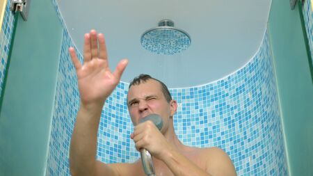 Funny guy singing in the shower. adventures of strange people