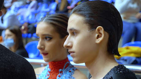 portrait. couple of ballroom dancers waiting for the results of the competition