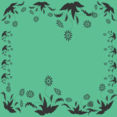 minty: Flower frame on the background of minty shade.Vector illustration