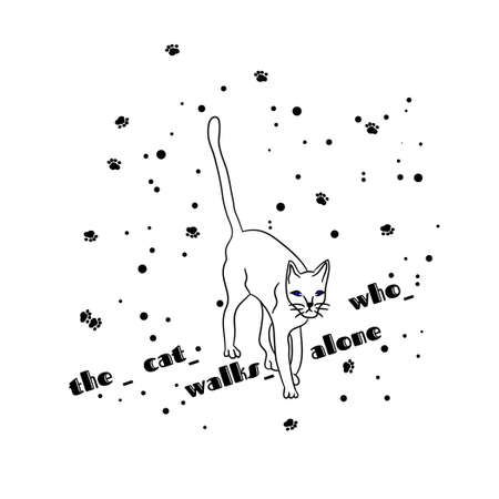 Cat vector sketch isolated on background. Hand drawn cartoon character.