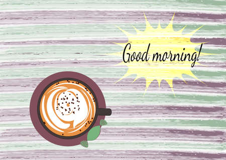 habit: Good morning card with coffee on the watercolor texture background. Stock Photo