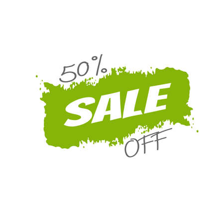 Special offer sale green tag isolated vector illustration. Discount offer price label, symbol for advertising campaign in retail, sale promo marketing, 50% off discount sticker, ad offer on shopping day
