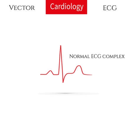 Electrocardiogram, ecg line, Normal sinus rhythm. Vector medical icon.