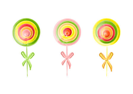 Set of colorful lollipops, isolated on white, cartoon vector illustration.