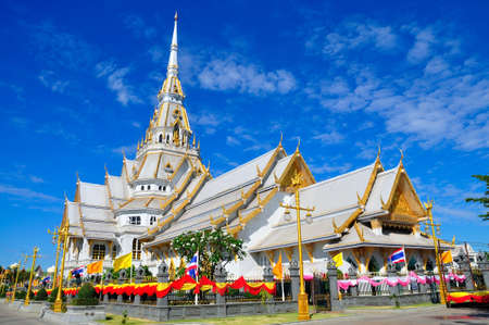 A great marble church, Wat Sothorn, Chachoengsao Thailand photo