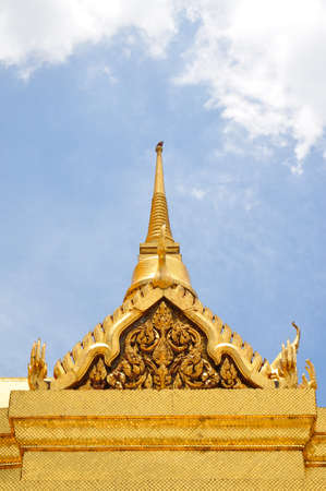 Stupa and church of Emerald Buddha temple in Thailand photo